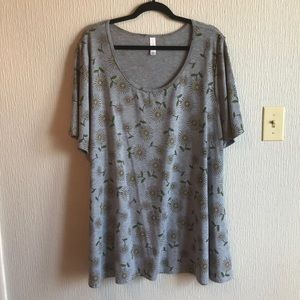 Lularoe Perfect T Sz 3XL Gray Dandelions
